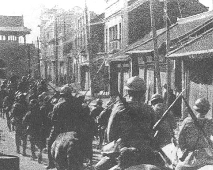 Japanese Mounted Infantry entering Shenyang during the Mukden Incident.