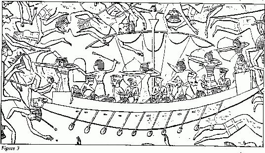 Egyptian Archers and Javelin Armed Marines Attack Sea People (from Temple carvings at Medinet Habu).